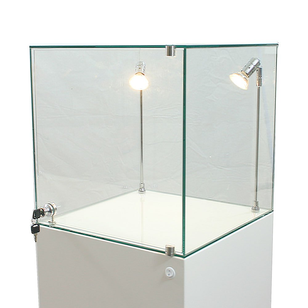 Glass Display Cabinet Uv Bonded By Exhibition Plinths