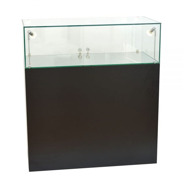 Glass Display Cabinet with Black Plinth by Exhibition Plinths