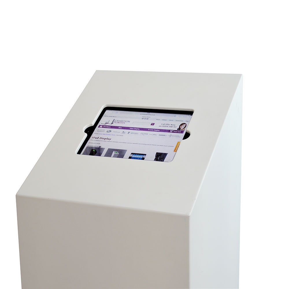 Exhibition Stand Quotation : Ipad floor stand plinth in white
