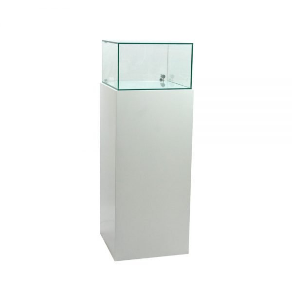 glass cabinet with lit base