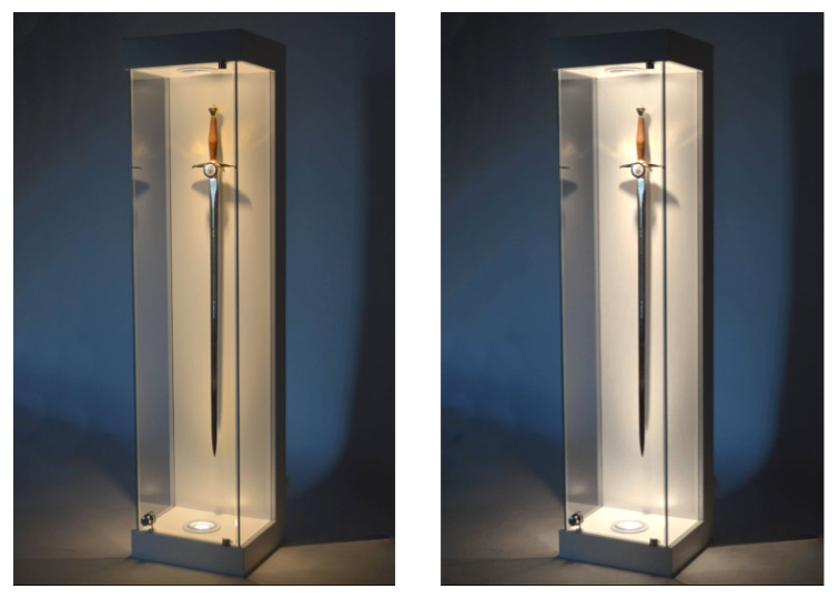 Sword Glass Display Cabinet Lighting Options Exhibition